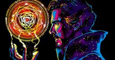 Doctor Strange casts a colorful spell on your wardrobe with the Sorcerer Supreme T-Shirt. Featuring the likeness of Benedict Cumberbatch as the most powerful Marvel Doctor Strange, Dr Strange, Dr Stephen Strange, Marvel Dc Comics, Marvel Heroes, Marvel Characters, Marvel Movies, Marvel Avengers, Star Lord