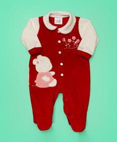 Macacão baby em plush vermelho e bege claro