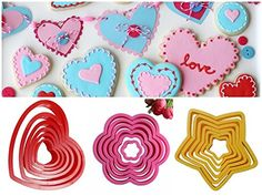 18pcs/ Lot Heart, Flower and Star Shaped plastic Cake mold cookie cutter biscuit stamp Sugar Craft cake decorations -- You can find more details by visiting the image link.