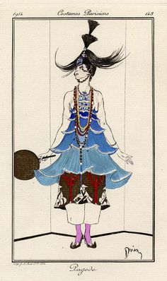 pagode costumes parisiennes 1914 tienne drian french 18851961 hand