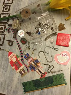 Altered Art, Mixed Media, Found Object Art Supplies for Crafting, Paper Pieces, Trinket Box, Wood and Metal Embellishment Lot, Hello Kitty by ReTHINKinIt on Etsy