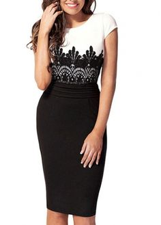 White and Black Color Blocking Short Sleeve Dress for church, ok!