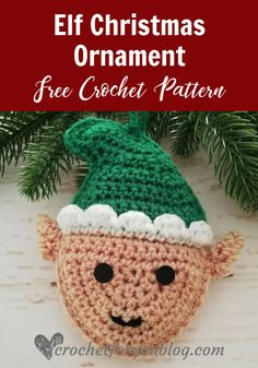 Crochet Elf Christmas Ornament Free Pattern - Crochet For You Crochet Bee, Crochet Santa, Crochet Snowman, Crochet Ornaments, Crochet Snowflakes, Free Crochet, Crochet Crown, Crochet Angels, Easy Crochet