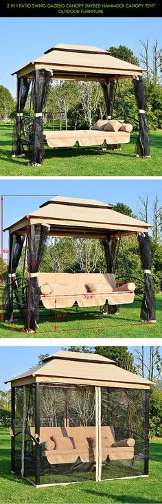 2 in 1 Patio Swing Gazebo Canopy Daybed Hammock Canopy Tent Outdoor Furniture #plans # & Outdoor Patio Umbrella 9 Feet Aluminum Tan Garden Table Furniture ...