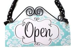 attention STORE OWNERS - this is a must have... Tiffany Blue Open Closed Sign Cute Boutique OPEN Closed Front Door Signage Shop Sign
