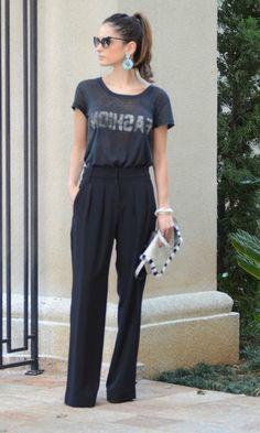 Look: Maxi Brincos, T-shirt e Alfaiataria