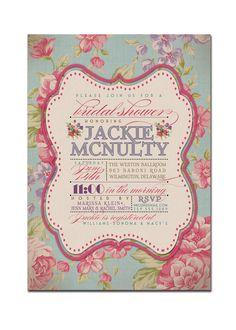 Kitchen Tea Bridal Shower Invitation Rustic Wedding Invitation Vintage Rose Typography Printable Digital or Printed - Jackie Style. $23.00, via Etsy.
