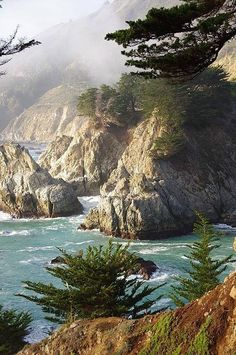 Rocky Coast, Big Sur, California-This image presents beautiful coastal highway 1 which runs between Cambria in the south and Carmel in the north. Though only 90 miles in distance, the curves of the road and the gorgeous scenery at every turn make the drive take over 3 hours.