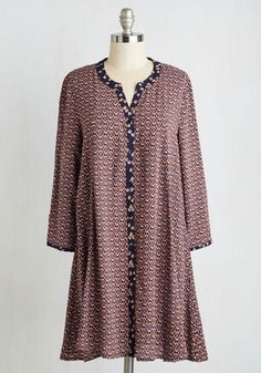 Profound Poetry Dress - Multi, Other Print, Casual, Boho, Shift, 3/4 Sleeve, Woven, Good, Mid-length