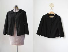Vintage black wool jacket with peter pan collar