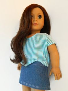 American Girl Doll Clothes - Turquiose and White Stripe Knit Poncho Tee Shirt