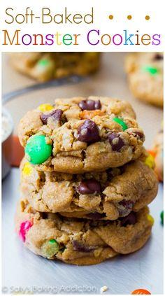 Monster Peanut Butter Cookies - the best monster cookies you'll ever make! @sallybakeblog