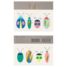 Kids Temporary Tattoos - Neon Bugs by Meri Meri, Summer Bug Tattoo, Colorful Bugs & Beetles for Insect Lovers, Go Wild, Let's Explore Bug Tattoo, Get A Tattoo, Rifle Paper, Dusty Blue, Illustrator, Butterfly Illustration, Diy Kit, Blue Balloons, Bubblegum Balloons
