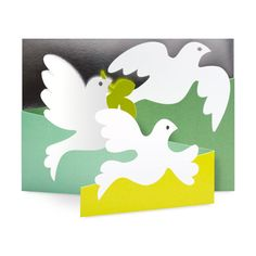 Olive Doves Holiday Cards - Set of 8 in color Tri Fold Cards, Folded Cards, Holiday Cards, Christmas Cards, Paper Cut Design, Sunday School Crafts, Design Museum, Design Elements, Greeting Cards