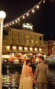 Nighttime wedding stroll at Disney's BoardWalk Inn