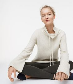 Comfy and cozy style with the Petite Drawstring Neck Sweater from LOFT. #loftclothing #cozystyle #casualstyle #ad