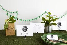 Tin can w/ plants, mini paper bunting