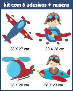 Adesivos Parede Infantil Aviador Avião Nuvens Frete Grátis - R$ 89,90