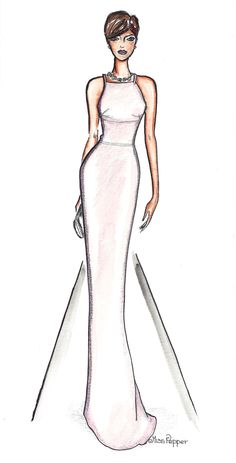 Oscar Anne Hathaway in Prada Wedding Dress Sketches, Dress Design Sketches, Fashion Design Sketchbook, Fashion Design Portfolio, Fashion Design Drawings, Fashion Drawing Dresses, Fashion Illustration Dresses, Fashion Model Sketch, Fashion Sketches