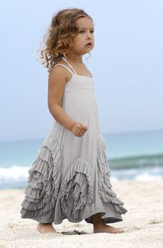 Grey Dip Dye Ruffled Hem Jersey Knit Maxi Dress Girls Boutique Pixie