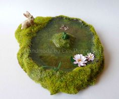 Miniature pond with rabbit golden fish & frog for by Evamini, $29.50