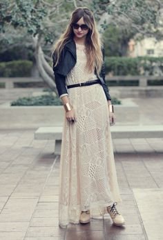 crochet maxi and leather jacket<3