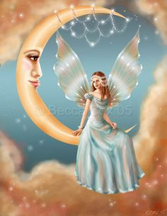 Pretty fairy sitting on the moon Fairy Dust, Fairy Land, Fairy Tales, Blue Fairy, Fairy Pictures, Angel Pictures, Beautiful Fantasy Art, Beautiful Fairies, Beautiful Person