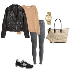 Moto jacket, cashmere sweater, gray jeans and New Balance.  French Minimalist Capsule Wardrobe - 20 pieces to create 20 mix and match outfits!  Perfect packing list for Paris.