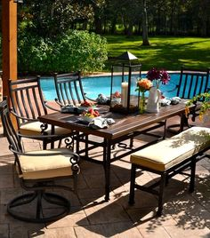 Experience exquisite casual comfort with our Veranda Classics™ Meridian 6-Piece Dining Set. Detailed extruded and cast construction provides traditional lines that will complement any outdoor decor.