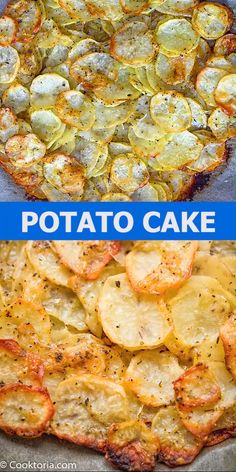 potato recipes These thinly-sliced potatoes seasoned with Italian herbs and Parmesan are golden and crispy on top, and soft on the inside. This simple Sliced Potato Cake is full of flavor, filling, and easy to make. Cooktoria for more deliciousness! Potato Side Dishes, Veggie Dishes, Vegetable Recipes, Vegetarian Recipes, Cooking Recipes, Healthy Recipes, Cooks Country Recipes, Vegetarian Appetizers, Appetizer Recipes