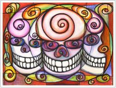 11x14 Psychedelic Three Amigos Muertos Skulls Art Print Artisan Courtyard http://www.amazon.com/dp/B00KBTUBV8/ref=cm_sw_r_pi_dp_8uckvb0BH17TN