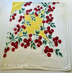 Yellow And Red: Vintage Cherry Tablecloth