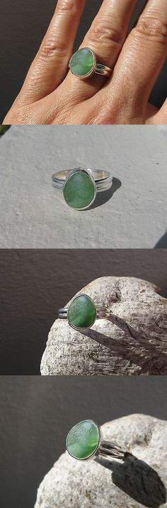 Necklaces and Pendants 110655: Multi Green Color Genuine Caribbean Sea Glass Sterling Silver Ring Size 8 -> BUY IT NOW ONLY: $60 on eBay!