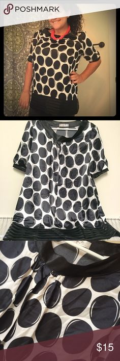 BOGO free ⚫️Polka Dot Tunic⚫️ Polka dot top with 3/4 length sleeves and bottom black pleated detailing. Everything in my closet is buy one get one free (lesser item is free) from now until Friday 12/9. At that point I'll be donating anything left over.  Just like the items you want me to bundle and leave me a comment when you're ready to purchase so I can discount them for you. Orange Tree Tops Tunics