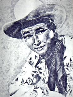 Roy Rogers artwork made with thumbprints only.