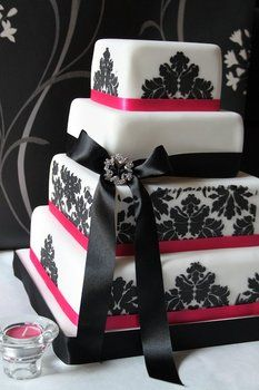 Wedding, Pink, Cake, Black