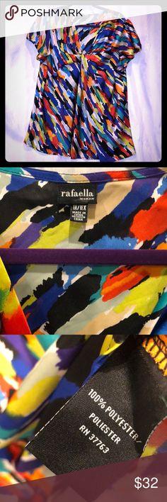 "Rafaella woman Plus 1x Splash Blue Purple Top F6 Rafaella woman Plus 1x Splash Blue Purple multi colored Top F6 short sleeve  29"" length  46"" chest Rafaella Tops Blouses"