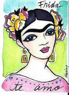 Frida Kahlo Original Watercolor ACEO Painting TE AMO Mexican Art Portrait Haring | eBay cost $10.95
