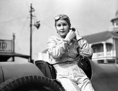Kay Petre at Brooklands racing track for the first time since a huge accident the previous September