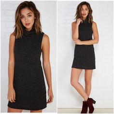 Nwt Slouchy Turtleneck Shift Dress In Charcoal