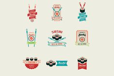 Set of sushi logos templates by Woters little shop on @creativemarket