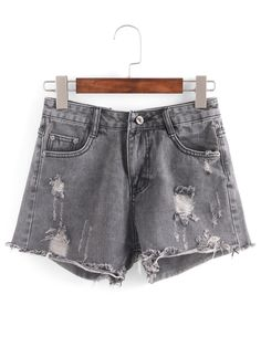 Shop Distresed Raw Hem Grey Denim Shorts online. SheIn offers Distresed Raw Hem Grey Denim Shorts & more to fit your fashionable needs.