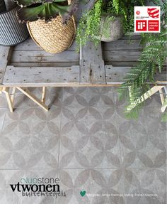 Terras met vtwonen buitentegels Duostone met dessin by Douglas & Jones gardentiles Decor, Cement Tile Floor, Cottage Garden, Interior Architecture Design, Backyard Makeover, Exterior Design, Flooring, Back Garden Design, Patio Tiles