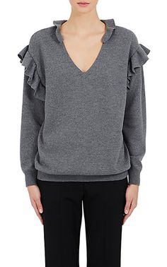 Stella McCartney Wool Ruffle V-Neck Sweater - Sweaters - 504745649