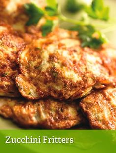 Zucchini Fritters, serv 1, 290 cal.  2 eggs plus 4 egg whites, 1 med zucchini, grated, 1 T thinly sliced onion, 1 tsp olive oil, ¼ tsp pepper, ¼ tsp onion powder, 1/8 tsp garlic powder, 1/8 tsp salt. Heat oil in skillet, mix all ingred & scoop 3 to 4 T mix into hot pan, brown & turn over & brown other side.