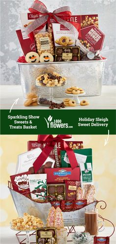 Treat your loved ones to all of the goodies in our Christmas gift baskets! Our collection of gourmet Christmas food baskets will satisfy any sweet tooth. Christmas Flowers, White Christmas, Christmas Gifts, Holiday, Food Baskets For Christmas, Food Gift Baskets, Sweet Delivery, Moose Munch, White Mocha