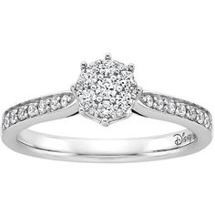 Enchanted Disney Diamond and Amethyst Ariel Engagement Ring in 14K... ($899) ❤ liked on Polyvore featuring jewelry, rings, white, 14k white gold ring, white gold diamond rings, 14k ring, 14k diamond ring and round diamond ring