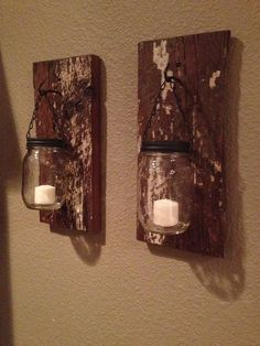 jars as candle holders | Barn wood mason jar candle holders on Etsy, $35.00