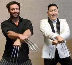 Funny pictures about Hugh Jackman and PSY dancing Gangnam Style. Oh, and cool pics about Hugh Jackman and PSY dancing Gangnam Style. Also, Hugh Jackman and PSY dancing Gangnam Style. The Wolverine, Wolverine Claws, Wolverine Movie, Hugh Jackman, Xmen, Kurt Cobain, Psy Gangnam Style, Musica Disco, Rapper
