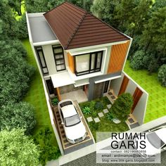 Simple as it can be, narrow lot house plans are design for compact layout and not luxury. Modern Small House Design, Small Modern Home, House Front Design, Tiny House Design, Narrow Lot House Plans, New House Plans, Modern House Plans, Home Room Design, Home Design Plans